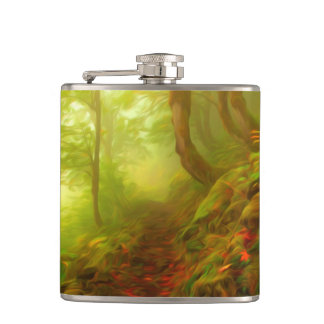 Beautiful forest with fog between trees hip flask