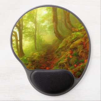 Beautiful forest with fog between trees gel mousepad