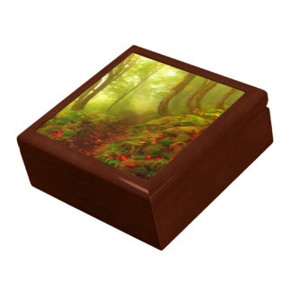Beautiful forest with fog between trees keepsake box