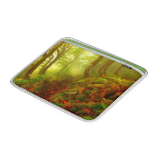 Beautiful forest with fog between trees MacBook air sleeve