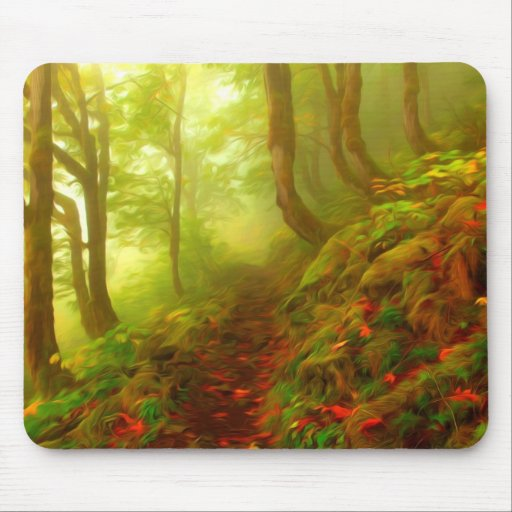 Beautiful forest with fog between trees mousepads