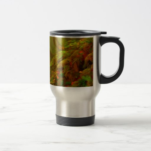 Beautiful forest with fog between trees coffee mugs