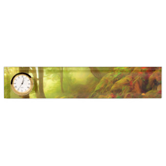 Beautiful forest with fog between trees desk name plates