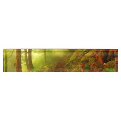 Beautiful forest with fog between trees desk name plate
