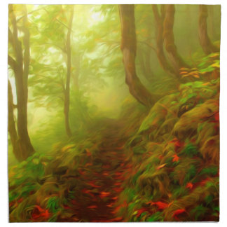 Beautiful forest with fog between trees napkins