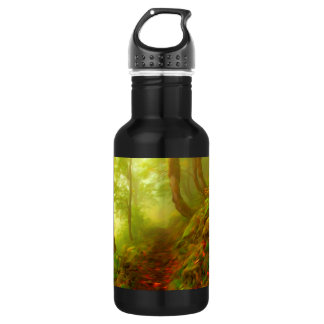 Beautiful forest with fog between trees 18oz water bottle