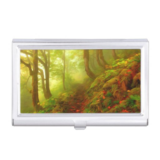 Beautiful forest with fog between trees case for business cards
