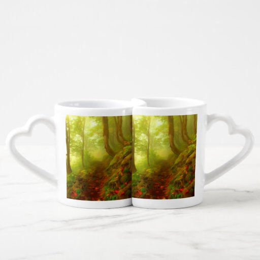 Beautiful forest with fog between trees lovers mug set