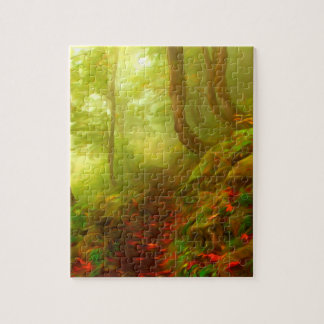 Beautiful forest with fog between trees puzzle