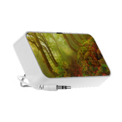 Beautiful forest with fog between trees notebook speakers