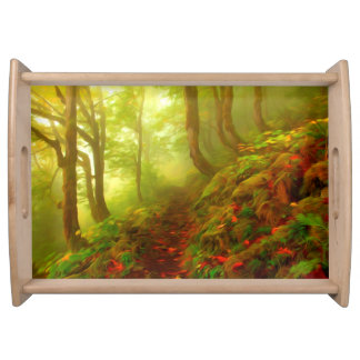 Beautiful forest with fog between trees service tray