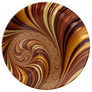Beautiful Fractal Swirls Art Decor Porcelain Plate
