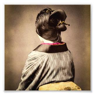 Beautiful Geisha Profile from Back Vintage Japan Photographic Print