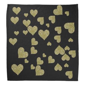 beautiful golden hearts on black pattern bandana