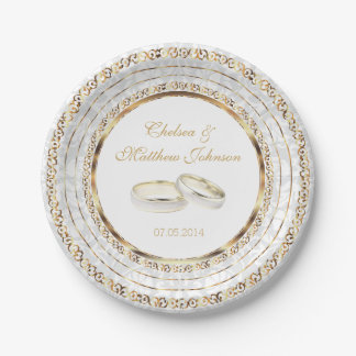 Beautiful Golden Wedding Bands 7 Inch Paper Plate
