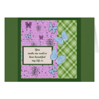 Beautiful Green and Lavender Butterflies Card