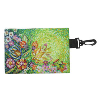 Beautiful Green Flower Abstract Accessory Bag