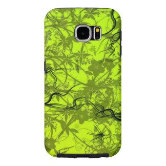 beautiful green flowers swirl lines art samsung galaxy s6 cases