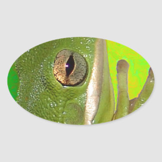 Beautiful green tree frog giviing the peace sign. oval sticker