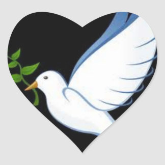 Beautiful Heart-Shaped Peace Dove Stickers