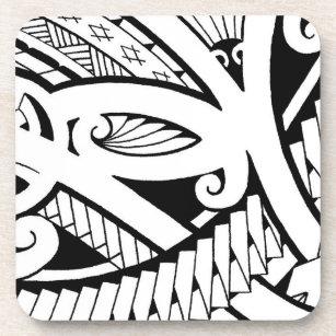 Beautiful Island Tattoo Designs Modern Black Art Coaster