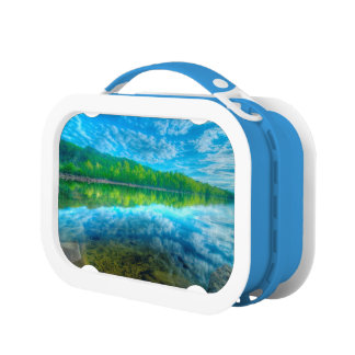 Beautiful landscape with turquoise lake lunch box