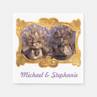 Beautiful Masked Couple Disposable Napkins