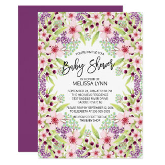 Beautiful Modern Floral Girls Baby Shower Invite