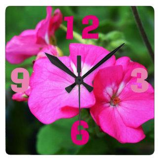 Beautiful Nature Pink Flowers Clock