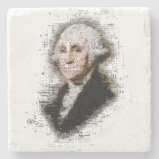 Beautiful Newsprint Portrait of George Washington Stone Coaster
