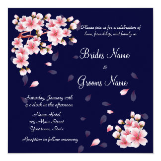 Beautiful Night Sakura 13 Cm X 13 Cm Square Invitation Card