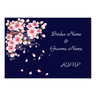 Beautiful Night Sakura RSVP cards 9 Cm X 13 Cm Invitation Card