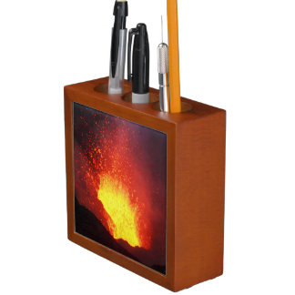 Beautiful night volcanic eruption desk organiser