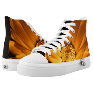 Beautiful orange and yellow daisy printed shoes