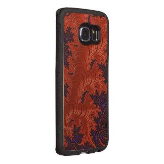 Beautiful Orange Blue Fractal Design Wood Phone Case