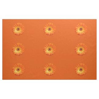 Beautiful Orange Gerbera Daisy I Combed Cotton Fabric