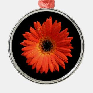 Beautiful Orange Gerbera Daisy Silver-Colored Round Decoration