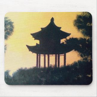 Beautiful Pagoda Silhouette Art Sunset Landscape Mouse Pad