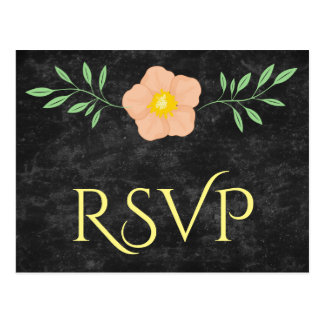 Beautiful Peach Yellow and Green Floral rsvp Postcard