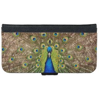Beautiful peacock print iphone wallet case