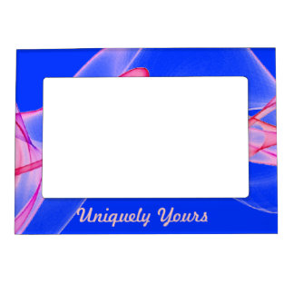 Beautiful Pink and Purple on Blue Background Picture Frame Magnet