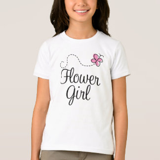 Beautiful Pink Butterfly Flower Girl Tee