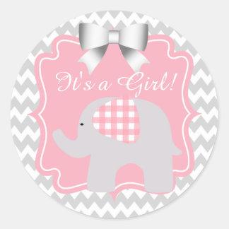 Beautiful Pink Elephant Baby Shower Round Sticker
