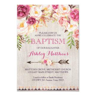 Beautiful Pink Floral BAPTISM Invitation