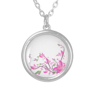 beautiful pink flowers decorative guard - Flowers Silver Plated Necklace