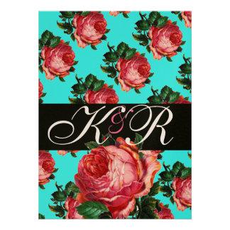 BEAUTIFUL PINK ROSE AQUA BLUE TEAL FLORAL MONOGRAM PERSONALIZED INVITE