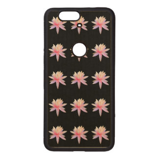 Beautiful Pink White Lotus Flower Pattern Wood Nexus 6P Case