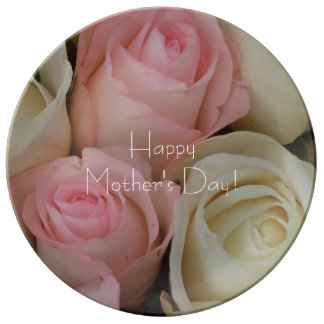 Beautiful Pink White Roses Flower Bouquet Floral Plate