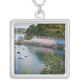 Beautiful port and sailboats with reflections in 2 silver plated necklace