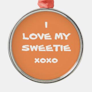 "Beautiful Pumpkin Orange ""I LOVE MY SWEETIE xoxo"" Christmas Ornament"